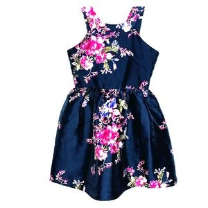 Crystal Doll Toddler Medium Dress Floral Navy Blue